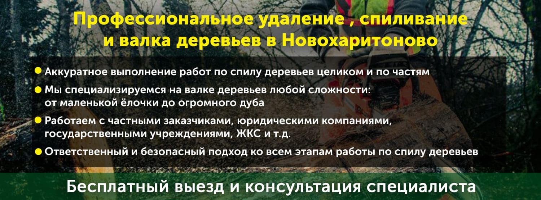 Работы по удалению кустарников и деревьев в Новохаритоново